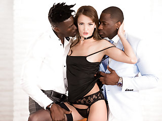 Zoe gets fucked by two black cocks and gets covered in cum!